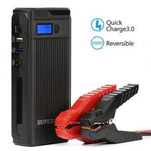 SUPERPOW Batería Arrancador de Coche 1200A,Jump Starter Batería de Emergencia Portátil con Arranque Kit, LED, USB Puertos (Puede Alimentar el Coche hasta 5.5L de Diesel o 7.0L de Gasolina) [OFERTAS]
