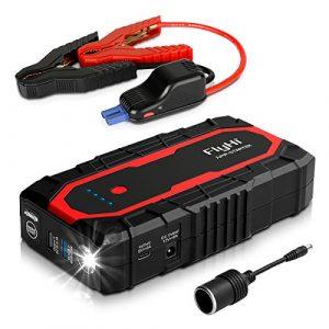 FlyHi N18 1200A Arrancador del Salto Portátil para Automóvil (hasta el Motor 7,0L Gas / 6,5L Diesel) Acelerador de Batería de 12V con Doble USB Inteligente, Carga Rápida de 5/9/12V, Salida de 12V/6A, Toma de Encendedor de Cigarrillos, Linterna de LED [OFERTAS]